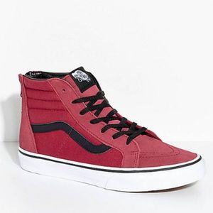 VANS SK8-Hi Tibetan Red Zippered Skate Shoes